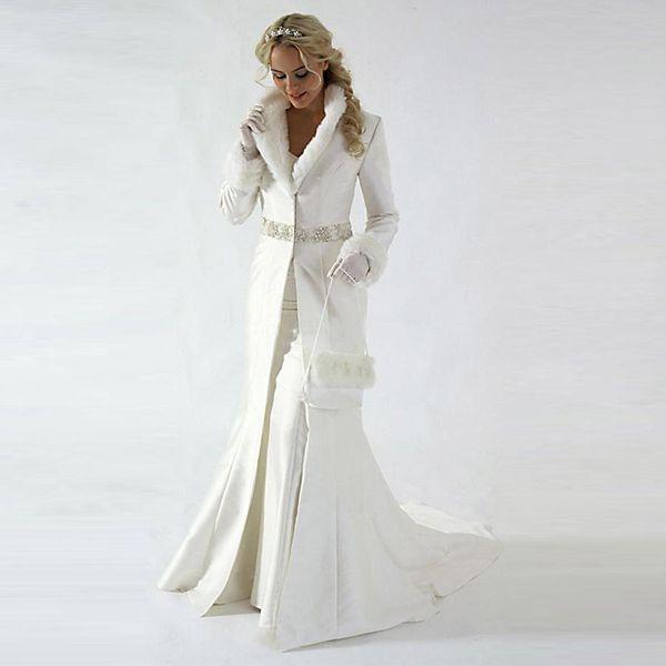 best selling Modern 2019 Chapel Train Winter Bridal Cloak Jacket Long Sleeves Fur Wedding coat Cute Shawl Coat Satin Fabric With Faux Fur Sequin Beaded