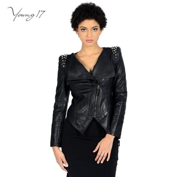 Young17 6XL PU Leather Coat Black Rivet Jackets For Women Punk Jacket Deep V Neck Autumn Winter Zipper Rock Motorcycle Outerwear