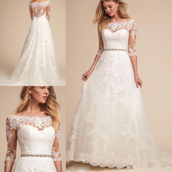 compre bhldn primavera 2018 vestidos de novia de encaje bateau