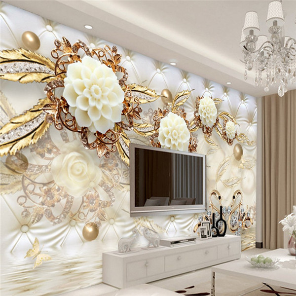 Arkadi 5d Wall Panel Wallpaper Marble Diamond Jewelry Rose Background Modern Europe Art Mural for Living Room Large Painting Home Decor