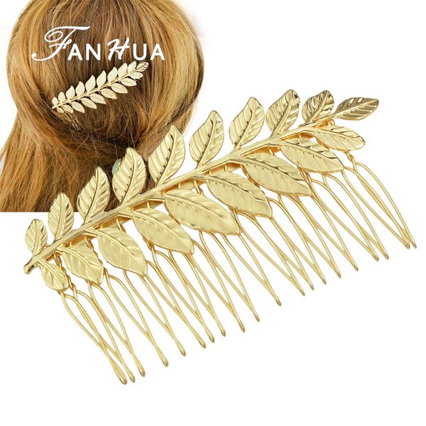 FANHUA New Style Hair Jewelry Individual Gold Silver Color Leaf Hair Comb Wedding Hair Accessories For Fashion Lady