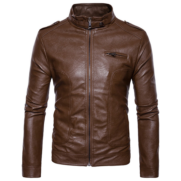 Mens Brown Leather Jacket Motorcycle Jacket Young Men Slim Fit Zipper Blazers For Boys S Fashion Style