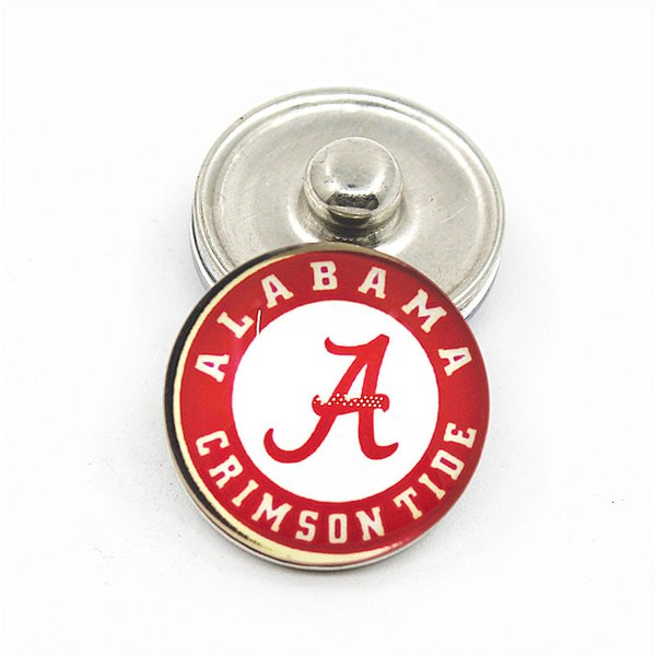 20pcs NCAA Alabama Crimson Tide Sport Glass Snap Buttons 18mm 12mm Fit Snaps Bracelet&Bangle Women DIY Snap Jewelry