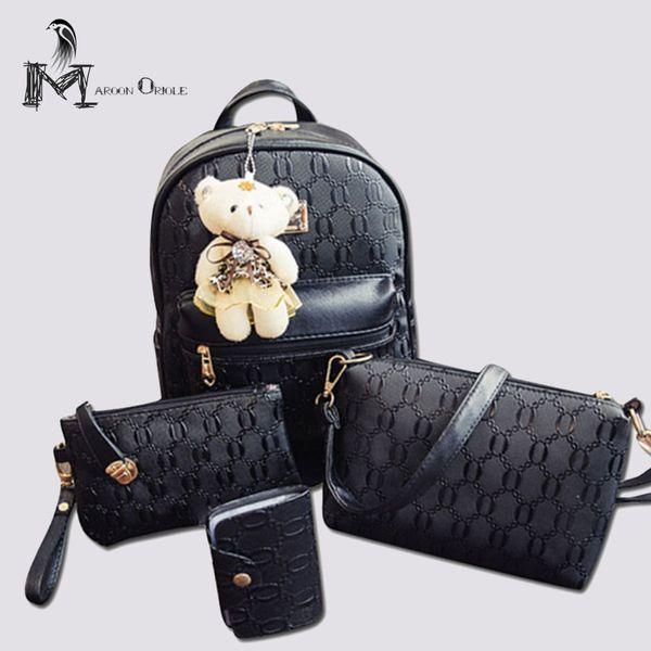 Fashion Composite Bag Pu Leather Backpack Women Cute 4 Sets Bag School Backpacks For Teenage Girls Black Bags Letter Sac A Dos