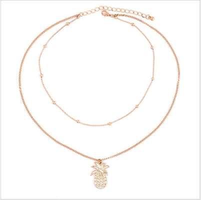 RscvonM Nova moda multi layer abacaxi colar conjunto Simpl gold bead double chai colar para as mulheres frete grátis