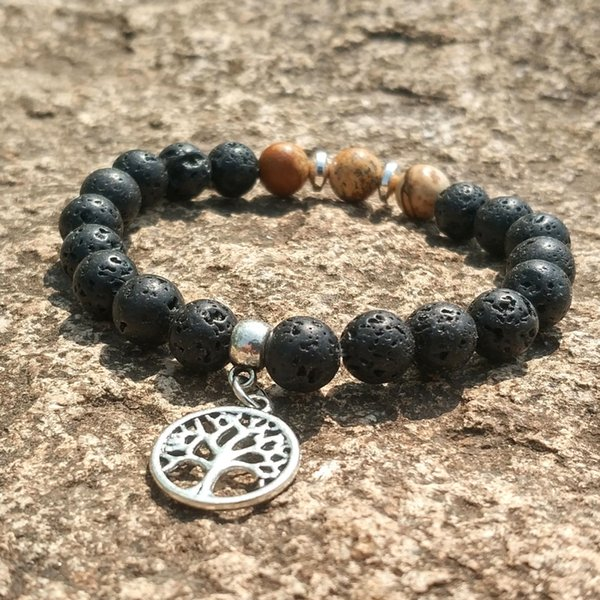 Tree of Life 8mm Turquoise Black Lava Stone Beads Elastic Bracelet Essential Oil Diffuser Bracelet Volcanic Rock Beaded Hand Strings
