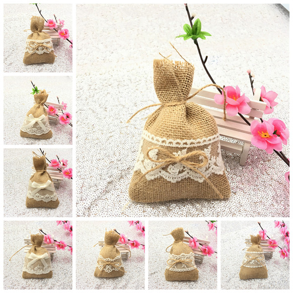 10 Styles Linen Lace Gift Packing Bundle Bag String Pouch Wedding Party Decoration Favour Candy Bag NNA591 500pcs