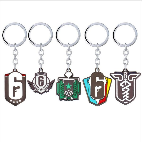 New Game Rainbow Six Siege Keychains Metal Keychain 5 Model Key Ring Chain Dog Tag pendant
