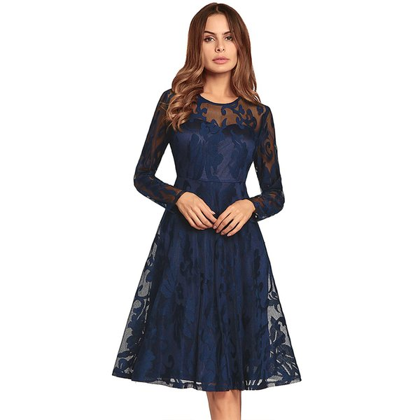 Dark Navy Long Sleeve Party Dresses Swing Knee Length Floral Lace Short  Prom Dresses 4 Colors Homecoming Dresses Real In stock 965e3ec43