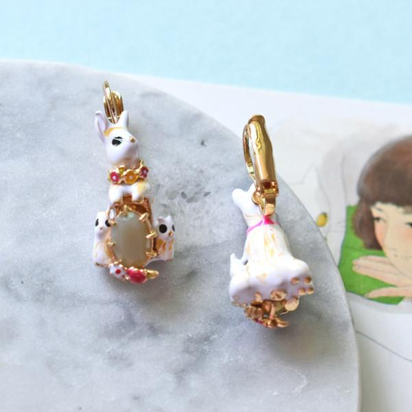 Luuxry Emaille Glasur Schmuck Kaninchen Edelstein Ohrringe Für Mädchen Top Qualität Niedlichen Tier Ohrhaken Großhandel