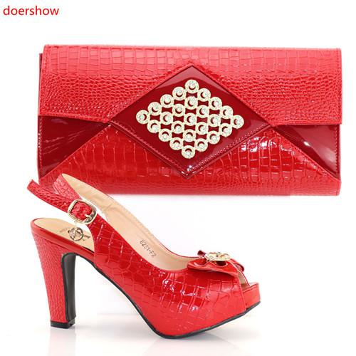Fashion Italian Style Woman Shoe And Evening Bag Set Fashion Rhinestone High Heels Woman Shoe And Bag Set For Party BC1-6