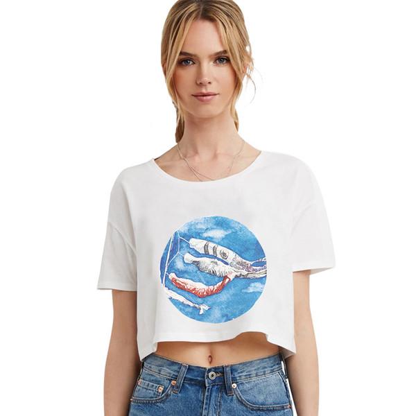 Maglietta girocollo a maniche corte stampata personalizzata con maniche lunghe a maniche corte a maniche corte estiva femminile di 2018 estate