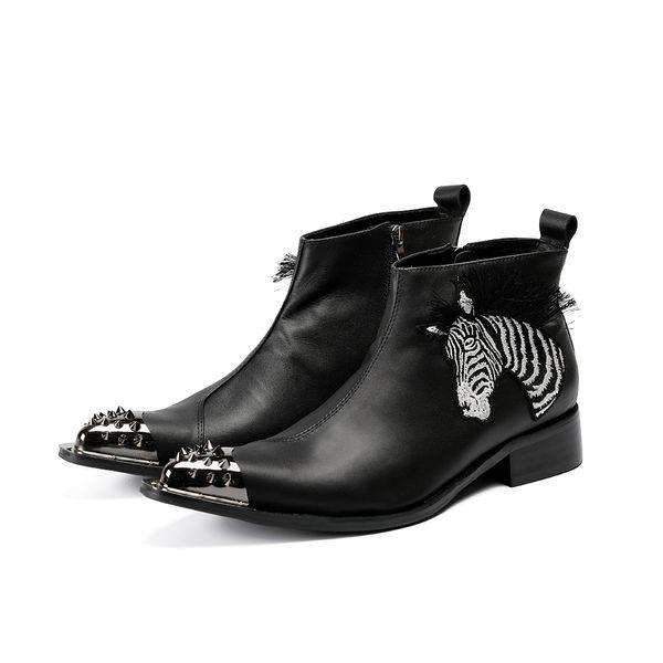 Spike Ayak Siyah Ayak Bileği Çizmeler Erkekler Için Gerçek Deri Siyah Beyaz Şerit Zebra Lüks Erkek Ayakkabı Sivri Burun Zip Çizmele ...