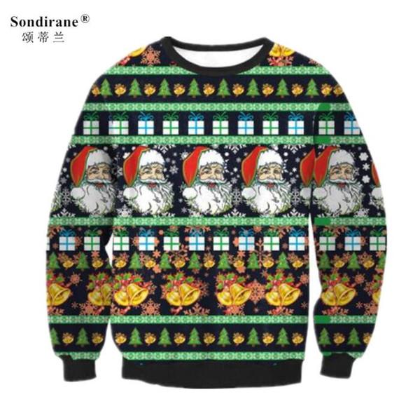 Sondirane Männer / Frauen Hoodies Weihnachten Santa Clus X-mas Unisex Streetwear Mode Rentier Pullover Lustige Print Freizeitkleidung