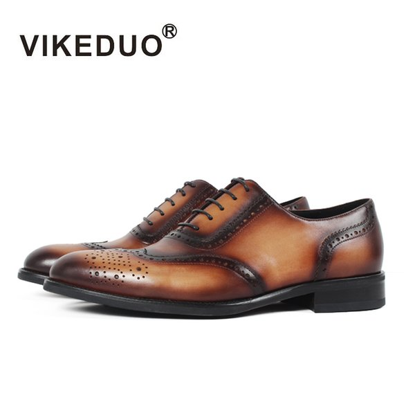 Vikeduo 2018 Handmade Italy vintage retro designer brand Wedding Party dance luxury male dress Genuine Leather Men Oxford Shoes