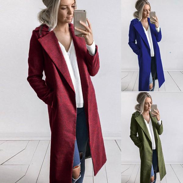 Women Clothes Winter Long Length woolen coat Lapel Neck Pocket Trench Coats Black Wine Grey Long Coats Free Shipping