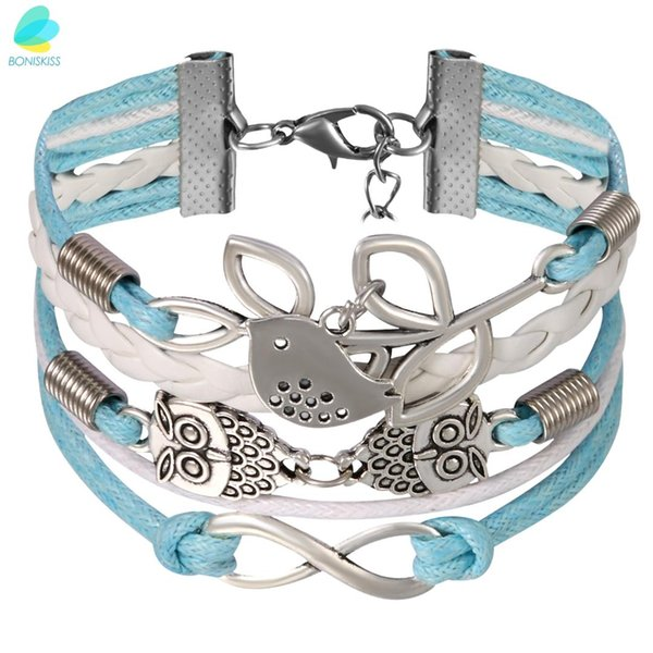 BONISKISS Multi-Layer Leather Strap Bracelet Love Brids Olive Branch Infinity Loop Charm Blue White Strap