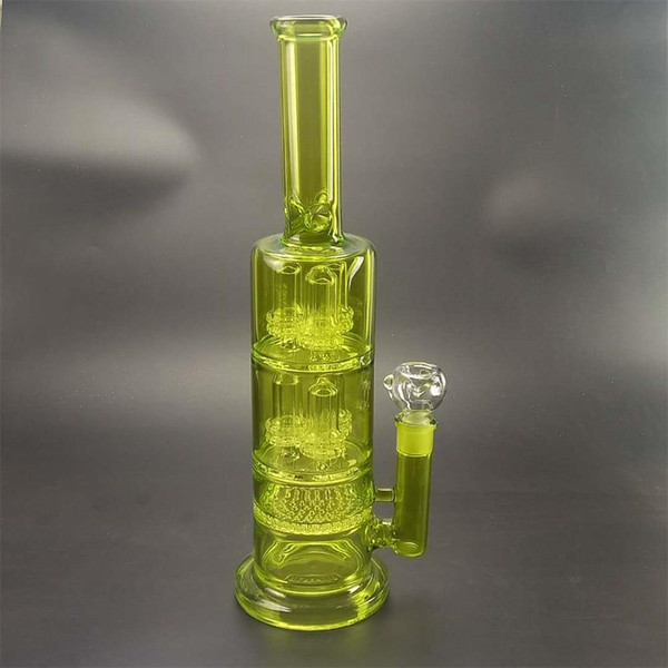 Large glass bong 42cm high quality low quality glass water flask with a bubbler filter at the bottom.