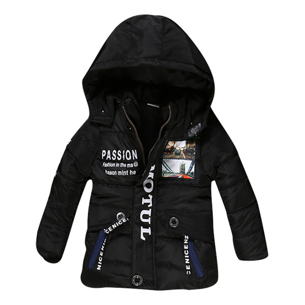 2017 New Boy Winter Jacket High quality Cotton-Padded Hooded Fashion Kids Coat Warm Children Outwear 3 color clothing