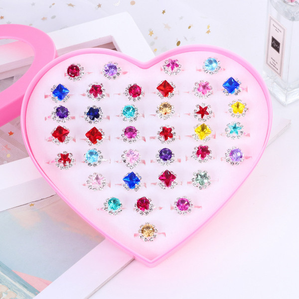 36pcs/Box Sterling Silver S925 Diamond Gemstone Ring With Heart Box For Children Christmas Gift Cute Adjustable Open Rings