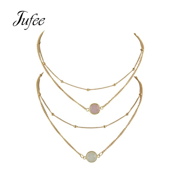 whole saleJufee 2 pcs/set Multi Layer Chain Necklace Gold-Color Chain White Pink  Necklace Boho Chic Fashion Accessories