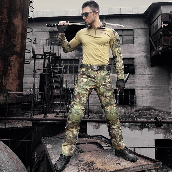 Army Uniform Camouflage Tactical Combat Suit War Game Clothing Hunting Shirt + Pants With Elbow Knee Pads Set