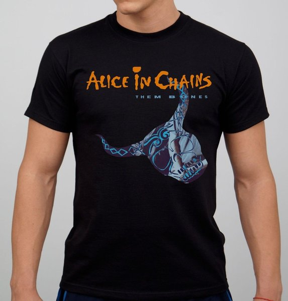Alice In Chains Rock Band T-shirt Black New Short Sleeve T Shirt Men Round Neck Crazy Top Tee