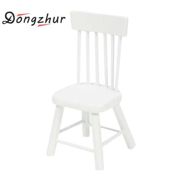 Dongzhur Wooden Dollhouse Toy Miniaturas 1:12 Dolls House Furniture White And Wood Color Dining Chair Mini Furniture Accessories