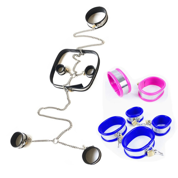 Bondage Kit Stainless Steel Sex Collar Wrist Ankle Cuffs Sex Fetish Lock BDSM Toys Restraints Chain Set Chastity Device for Couples G7-6-108