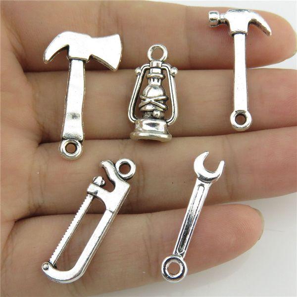 GLOWCAT B0Q172 Mixed 5pcs/set Vintage Silver Tools Kerosene Lamp Axe Spanner Wrench Hammer Jewery Charms Pendant