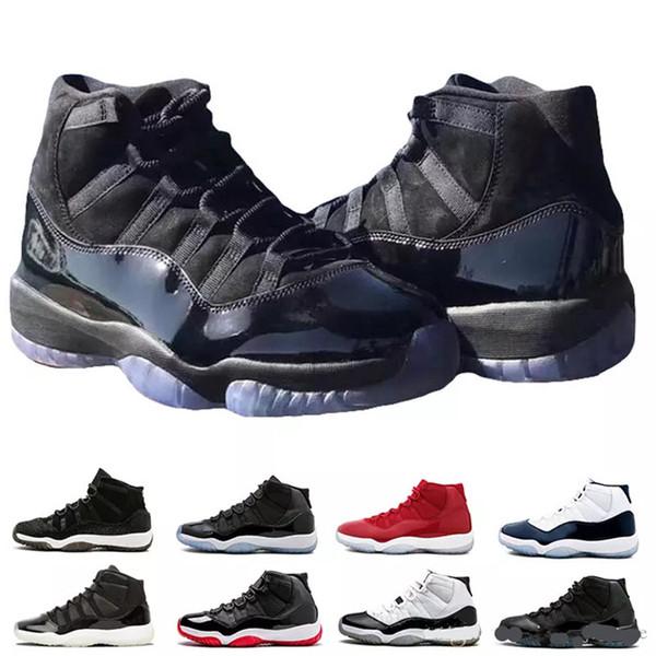 2018 남성 11S XI 농구 신발 잼 진정한 블루 플래티넘 색조 체육관 레드 사육 PRM 남작 콩코드 (45) 운동화 가운 댄스 파티 자정 화이트 (11) 트레이너