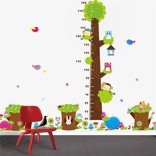 CD003 Cartoon jungle animals children height measure wall stickers for kids room wall sticker home decoration