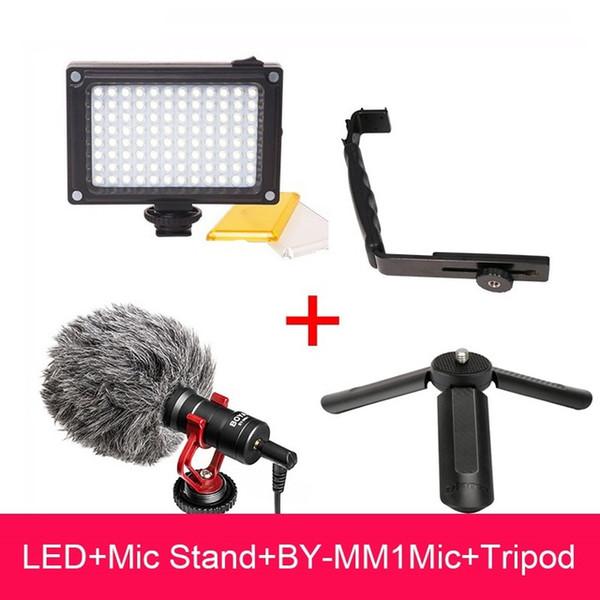 DJI Osmo Mobile 2 Configuración de video Boya BY-MM1 Micrófono L Soporte Luz de video LED, Base de micrófono para Smooth Q Smooth 4 Vimble 2 Gimbal