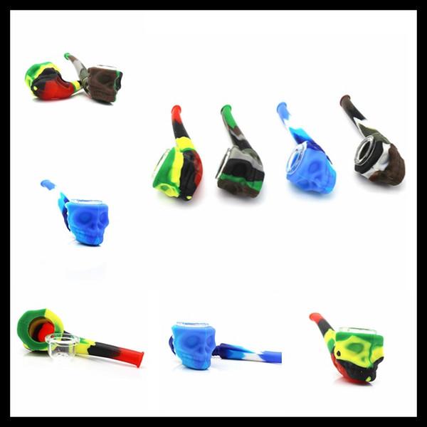 Nuovo tubo di fumo in silicone Pipa a mano Pipa con spessa ciotola di cucchiaio Teschio di stile per erba secca in vetro acqua tubo spedizione gratuita