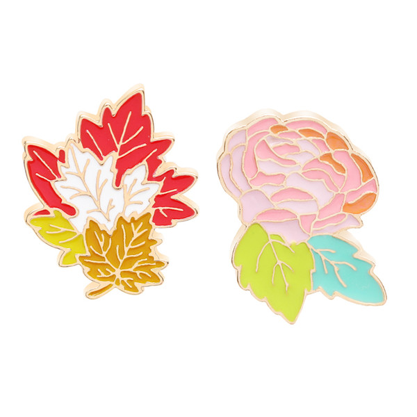 Roses And Leaves Brooch Pin Fashion Personality Brooch Denim Dress Dress Hat Pin Jewelry Two Choose One