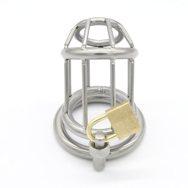 Stainless Steel Male Chastity device Tool Trap Lock Hot Fetish sex Penis Rings toy A158