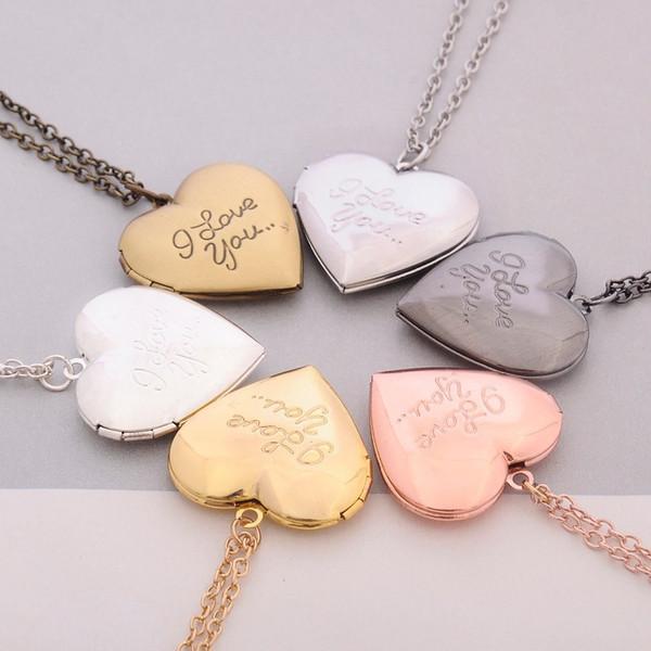 I Love You Heart Locket Necklaces Chain Secret Message Photo Box Pendants for Women Men Fashion Jewelry Free shipping