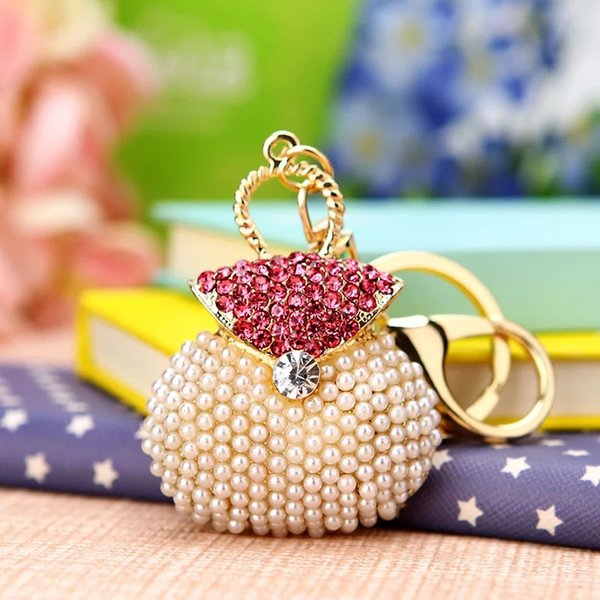 free shipping 50pcs/lot rhinestone pearl purse keychain wedding souvenirs, bridal showers birthday party favors and gifts