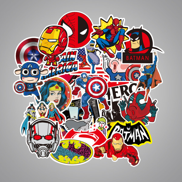 NEW 50 Pcs/Lot Car Stickers For MARVEL Super Hero DC For Car Laptop Notebook Decal Fridge Skateboard Batman Superman Hulk Iron Man