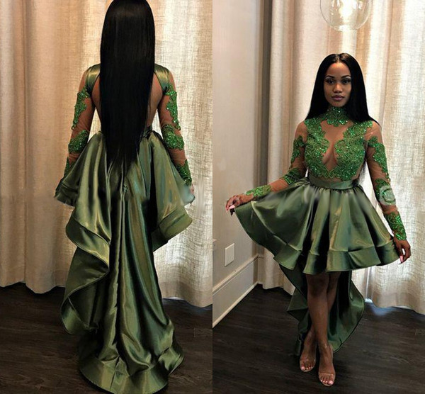 Olive Green 2019 Hi-Lo Cocktail Dresses Jewel Neck Long Sleeves Beads Sequined Formal Prom Evening Dresses Party Gowns Homecoming Dress
