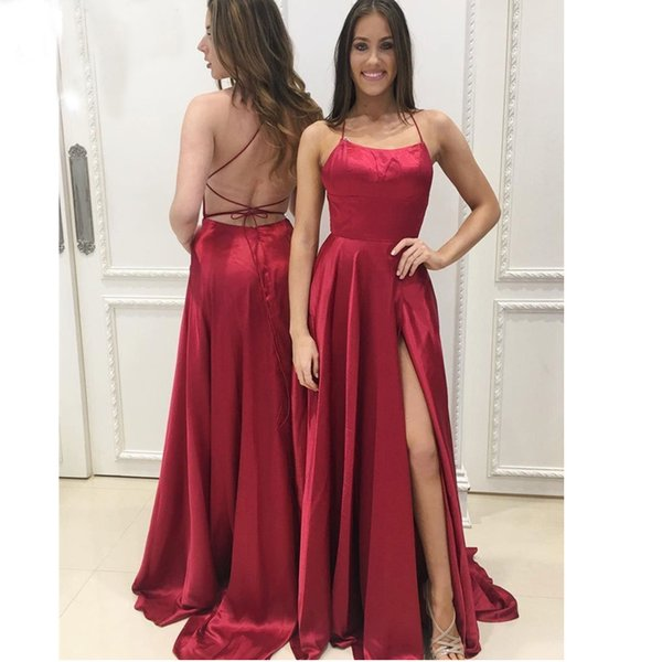 Burgundy Prom Evening Dresses A Line Satin Side Slit Spaghetti Backless Sleeveless Floor Length Maid Of Honor Formal Party Evening Dress