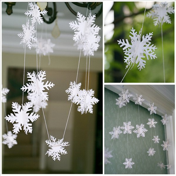 12Pcs/String 3D Card Paper White Snowflake Ornaments Christmas Garland Holiday Festival Party Home Decor KO674287 Y18102609