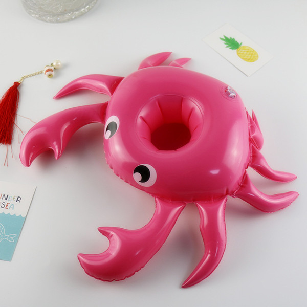 top popular Cartoon Crab Design Inflation Cup Seat Pool Floating Cute Drinks Holder Lovely Mini Saucer For Swimming Pool Decoration New Arrival 2 4xr Z 2021