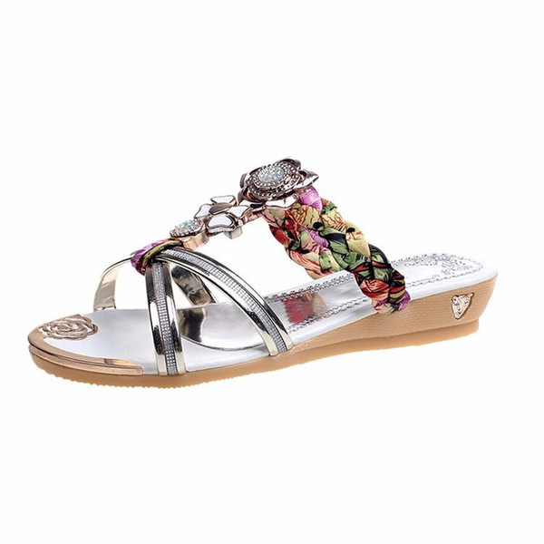 summer flat female diamond beaded women's shoes slope with flip-flops sandals