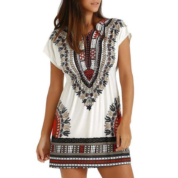 Fashion Womens Casual Ethnic Printed V-Neck Short Sleeve Summer Mini Dress folk-custom ladies straight dress vestidos de festa