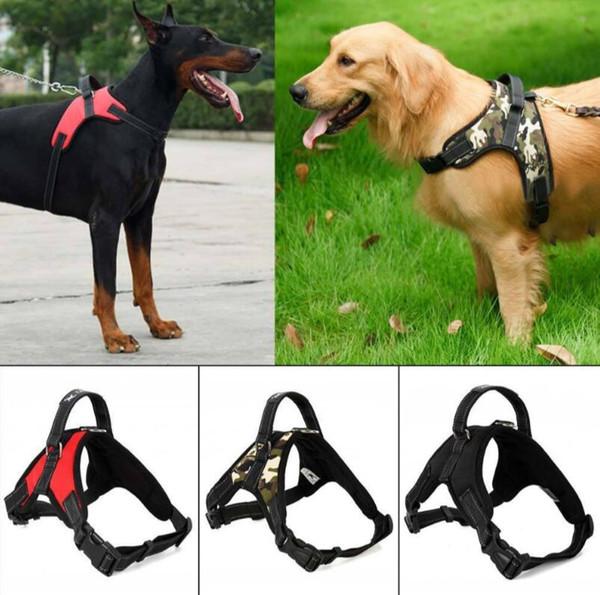 4 Estilos de Coleira Para Animais De Estimação Grande Cão Sela Macia Ajustável Cinto Harness Walk Vest Out Ao Ar Livre Alça de Mão EEA382 20 pcs