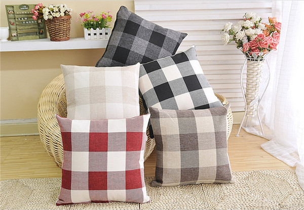 best selling Square lattice cotton and linen pillow cover simple soft pillows for hotel home decor waist cushion pillow cover