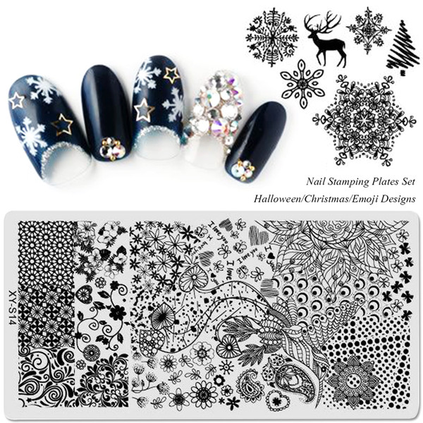 20pcs Set Template Nail Stamping Plates Flowers Halloween Christmas Cartoon 2017 New Arrival Designs Image Transfer SAXYS01-20