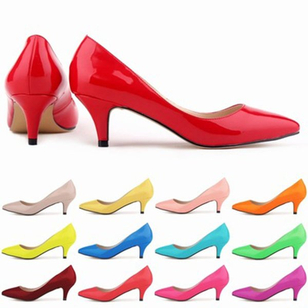 New Sapatos Feminino Fashion Womens Sexy Low Mid Kitten Heels Shoes Pu Patent Leather Pointed Pumps US Size 4-11