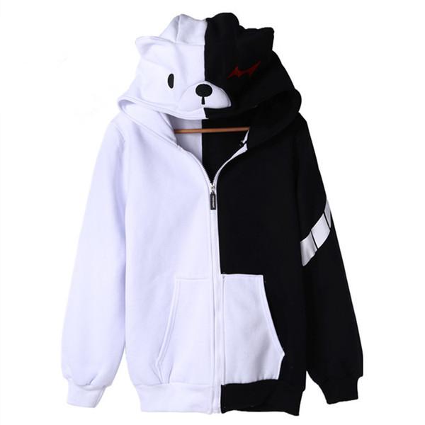 Anime Dangan Ronpa Monobear Monokuma Cosplay Siyah Beyaz Ayı Kostüm Unisex Ceket Kapşonlu Fermuar Hoodie Hırka erkek kadın